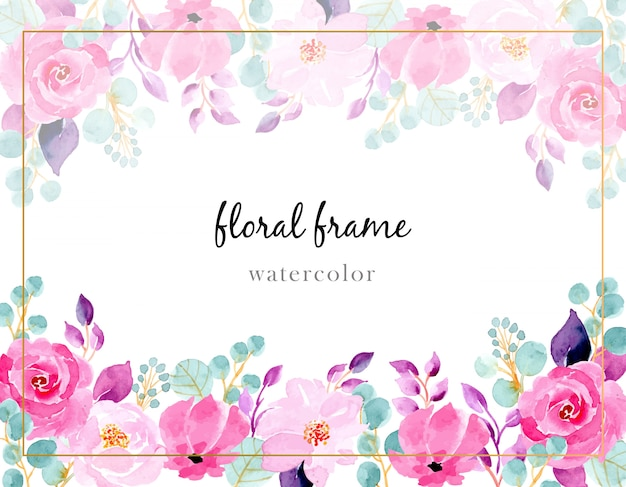 Pink flower watercolor background Premium Vector