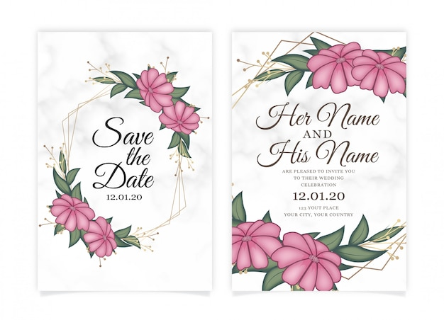 Pink flower wedding invitation card with marble background. Premium Vector