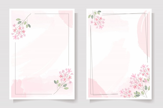 Pink flower with frame on pink watercolor splash wedding invitation or birthday greeting card template collection Premium Vector