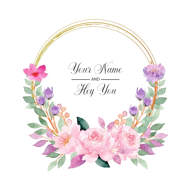 Pink flower wreath with watercolor Premium Vector