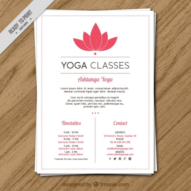 Pink flower yoga classes with timetables flyer vector for Yoga brochure templates