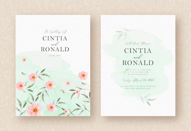 ピンクの花と葉の結婚式の招待状の背景 Premiumベクター