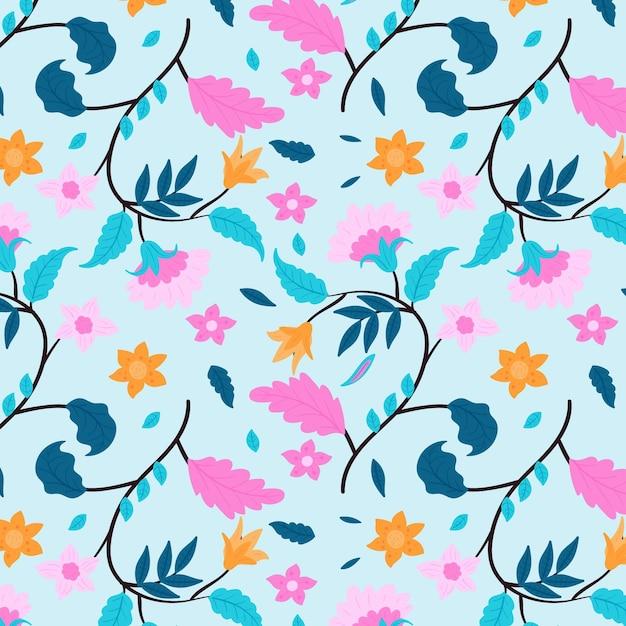 Fiori rosa e foglie blu motivo floreale Vettore gratuito