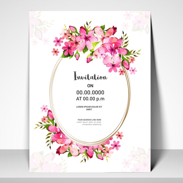 Pink flowers decorated invitation card design vector premium download pink flowers decorated invitation card design premium vector stopboris Choice Image