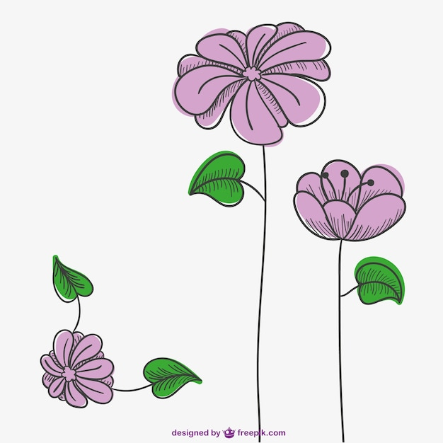 Pink flowers drawing