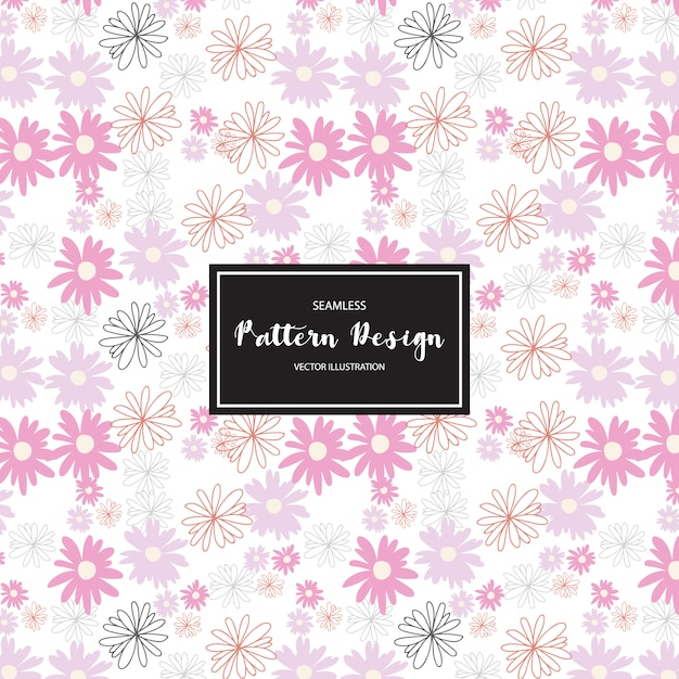 Pink flowers pattern background Free Vector