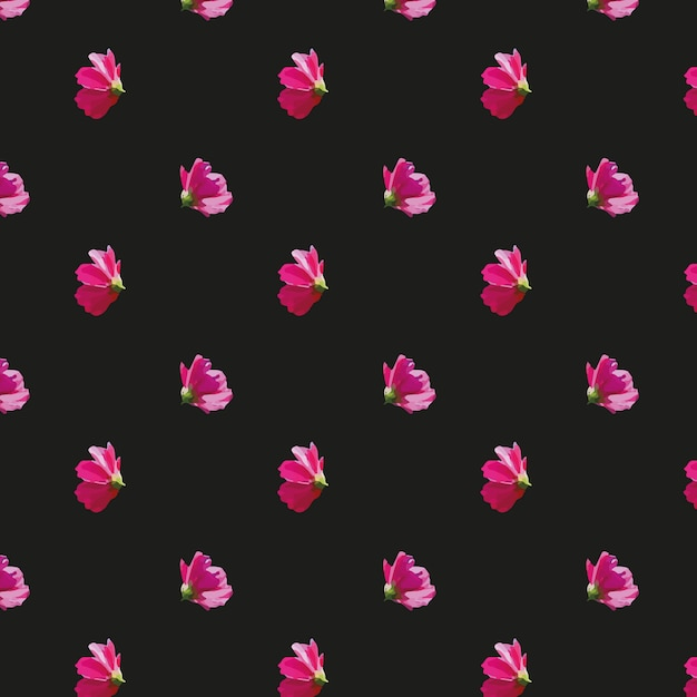 Pink flowers pattern on black background vector free download pink flowers pattern on black background free vector mightylinksfo