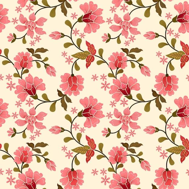 Розовые цветы бесшовные модели для текстильной ткани. Premium векторы