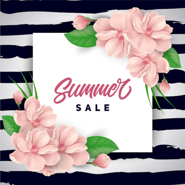 Pink flowers summer sale background Free Vector
