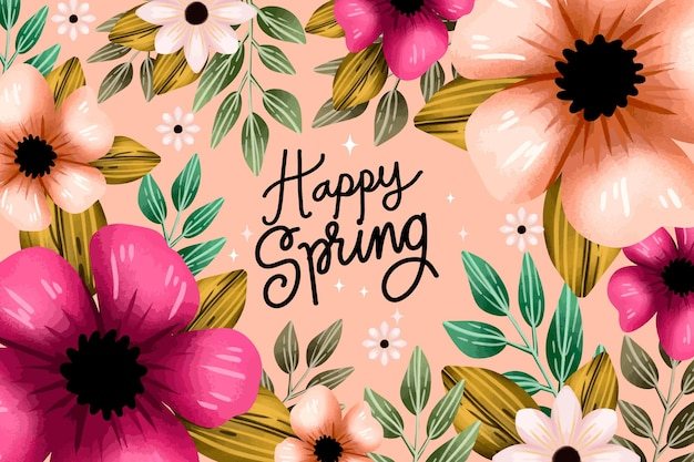 Sfondo primavera acquerello fiori rosa Vettore gratuito