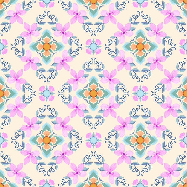 Pink flowers with geometric shape seamless pattern. Premium Vector