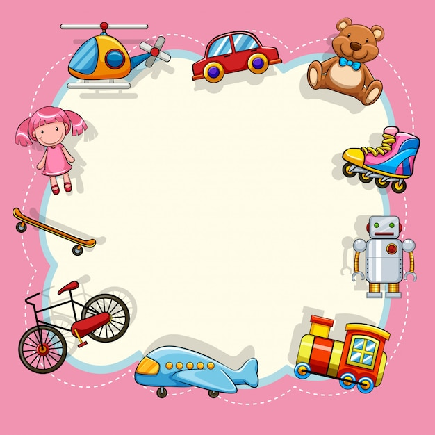 Pink frame with children toys Free Vector