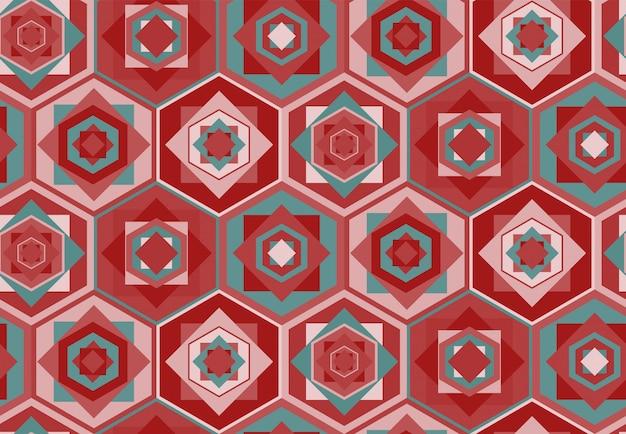 Розовый геометрический рисунок с шестиугольниками и квадратами Premium векторы