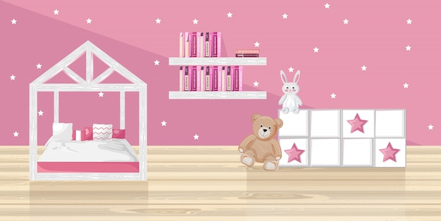 Pink girl bedroom Premium Vector