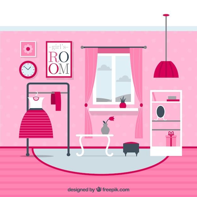 Pink Girls Room Vector