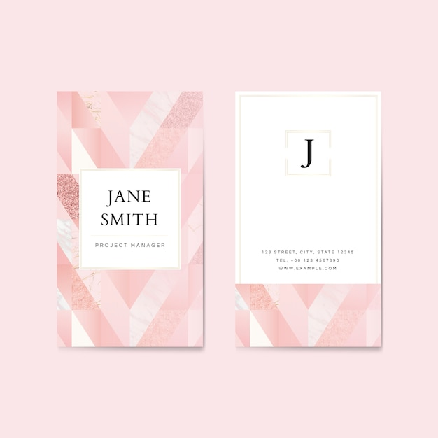 Pink glitter vertical business card template Premium Vector