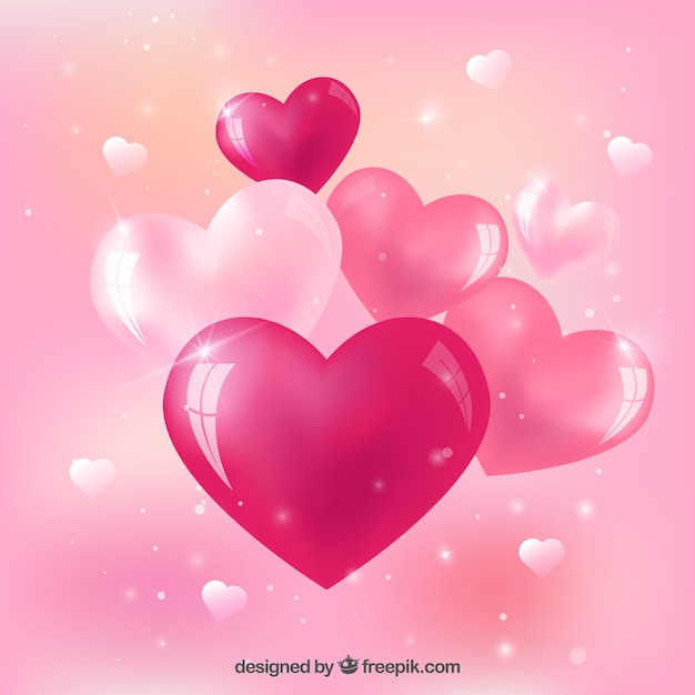 Download Pink glossy hearts Vector   Free Download