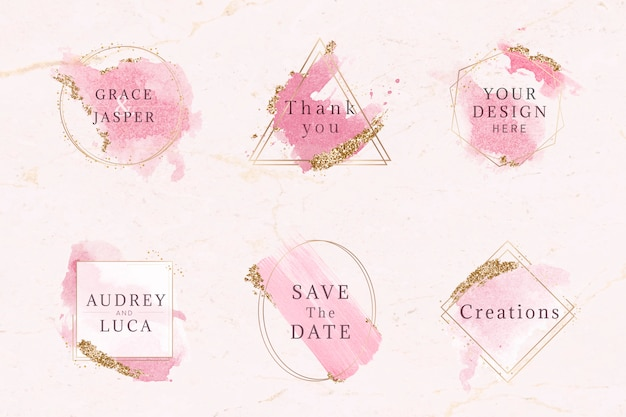 Pink and gold badge set Free Vector