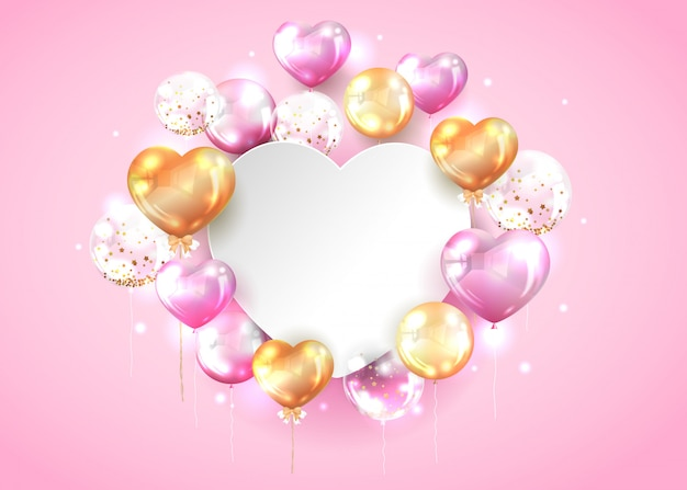 Pink and gold balloon with copy space in heart shape Free Vector