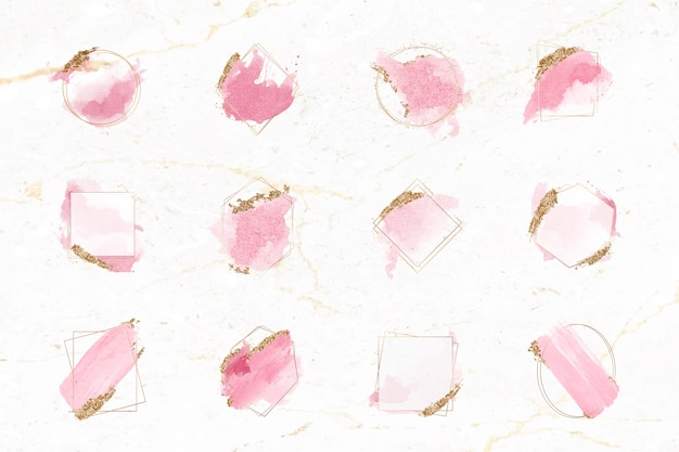 Pink and gold brushes frame set Free Vector