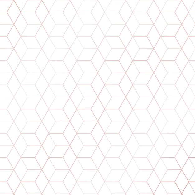 Pink gold geometric hexagons pattern white background Premium Vector