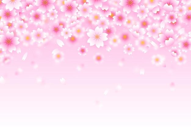 ピンクのグラデーションの桜の花の背景 無料ベクター