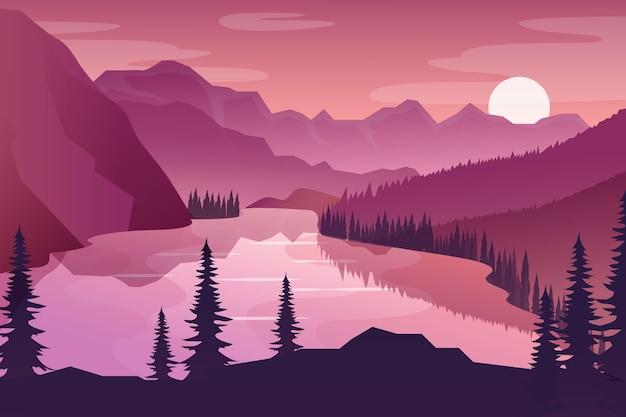Pink gradient spring landscape Free Vector