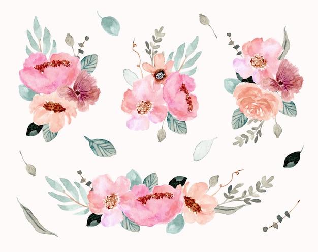 Розовая зеленая цветочная композиция акварель Premium векторы