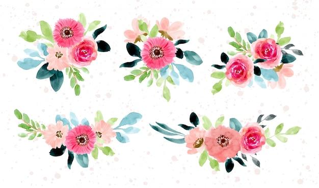 Pink green flower arrangement watercolor collection Premium Vector