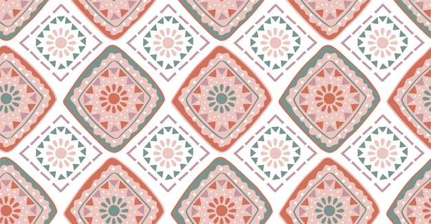 Pink green geometric seamless pattern in african style Premium Vector