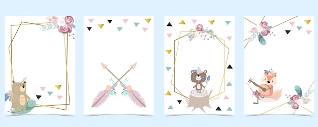 クマ、キツネ、矢印、羽のピンクグリーンゴールドジオメトリベビーシャワーの招待。子供と赤ちゃんの誕生日の招待状。編集可能な要素 Premiumベクター