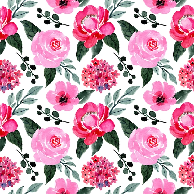 Pink And Green Pattern With Floral Watercolor Premium Vector