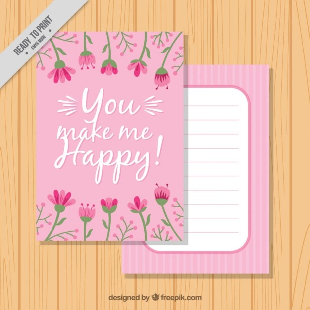 Pink greeting card with a nice quote