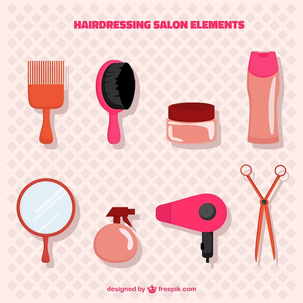 Pink hairdressing salon elements pack Free Vector