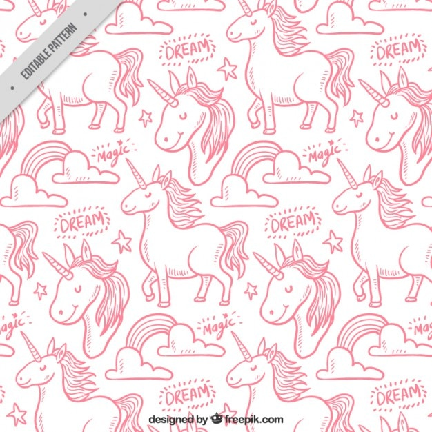 Pink hand draw unicorn pattern Free Vector