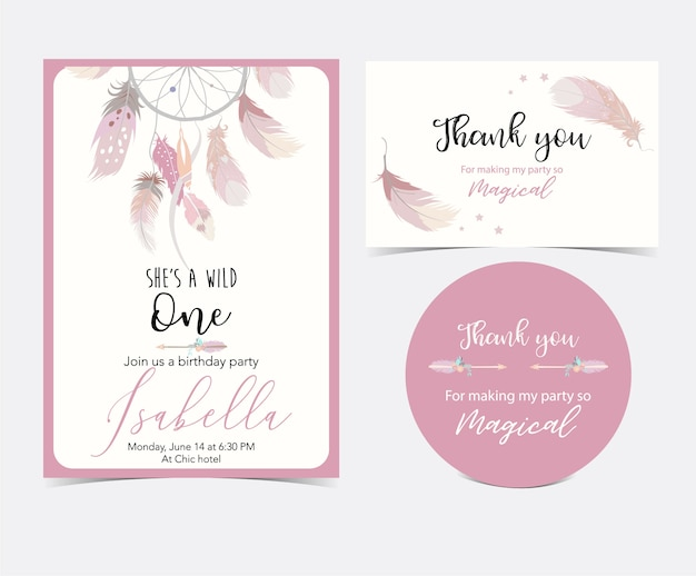 Pink hand drawn cute card with feather. thank you Premium Vector