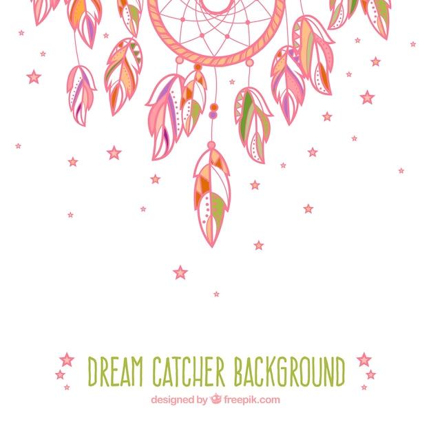 pink hand drawn cute dream catcher background vector