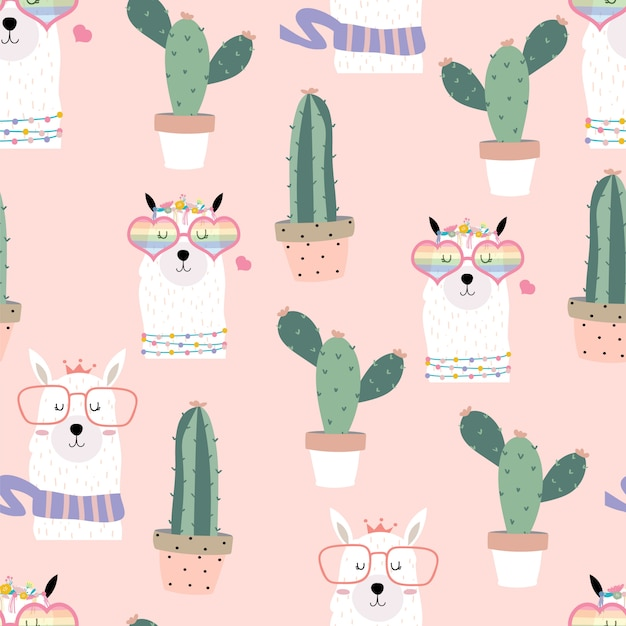 Pink hand drawn cute seamless pattern with llama, heart glasses, cactus in summer Premium Vector