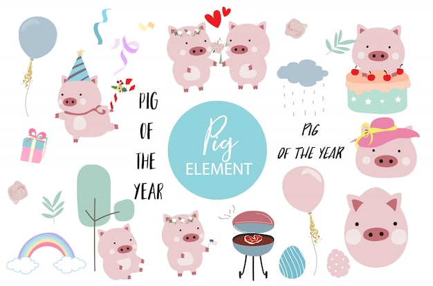 Pink hand drawn pig element with cake, barbecue, balloon, hat, cake, flower and rainbow. Premium Vector