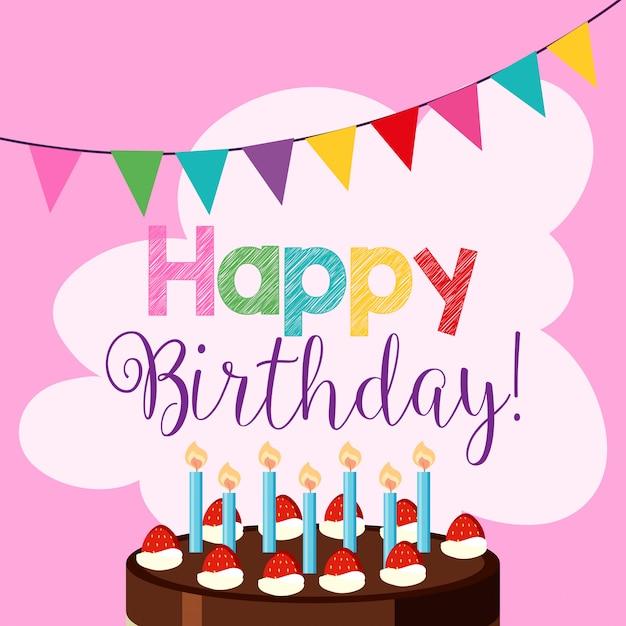 Pink happy birthday card Premium Vector