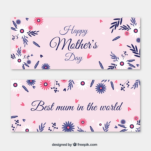 Pink Happy Mother\'s Day banners