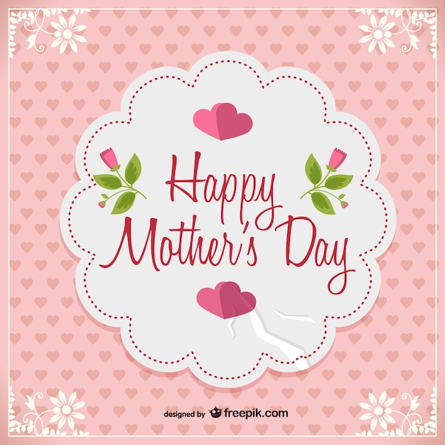 I Love You Mom Happy Mothers Day Flyer Template Psd Free: Pink Happy Mother's Day Card Vector