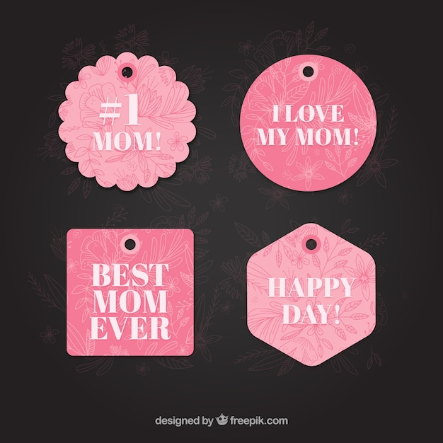 Pink happy mother\'s day label