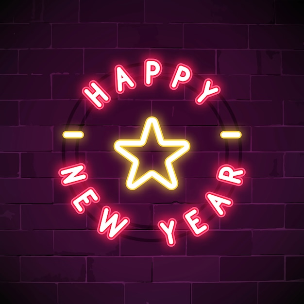 Pink happy new year neon sign vector Free Vector