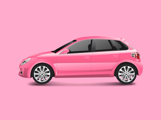 Pink hatchback car in a pink background vector Free Vector