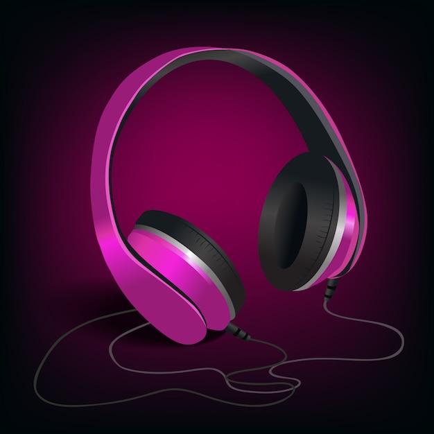 Pink headphones on purple Free Vector
