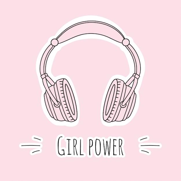 Pink headphones Premium Vector