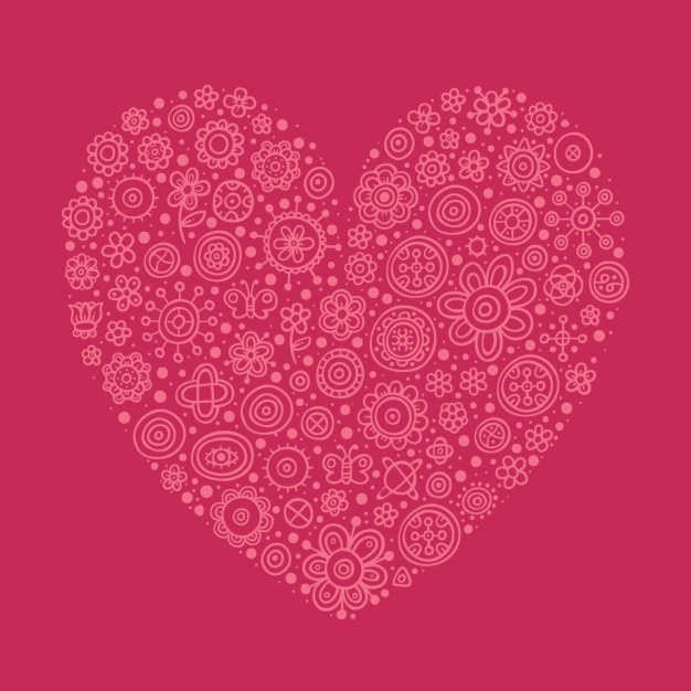 Pink heart made with flowers