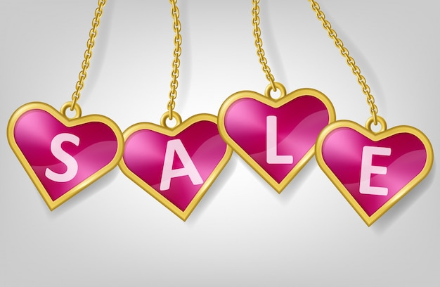 Tag di forma di cuore rosa con testo vendita Vettore gratuito