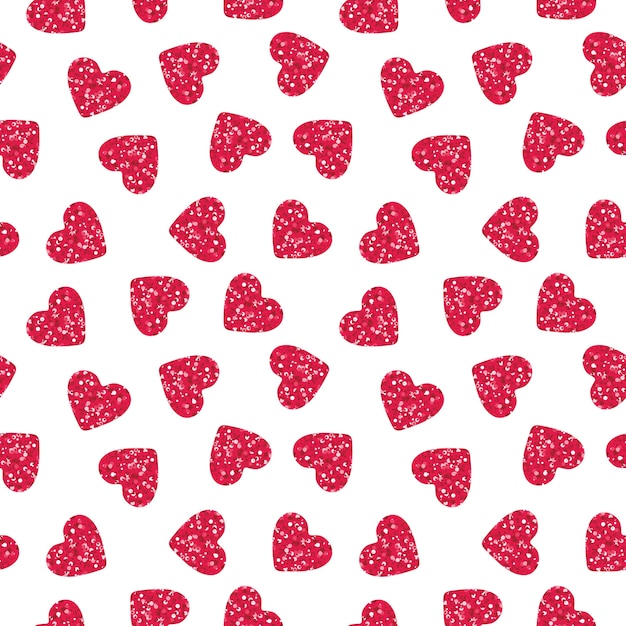 Pink heart shapes with glitter seamless pattern Free Vector